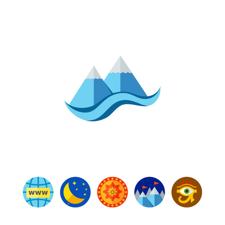 Stylized cliffs and sea. Peaks, snow, foot. Mountain concept. Can be used for topics like geology, geography, business. Illustration