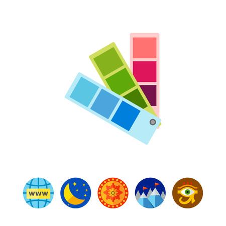 Farbfeld-Fan. Geschmack, Option, kreativ. Farbkonzept. Kann für Themen wie Kunst, Design, Marketing verwendet werden. Vektorgrafik