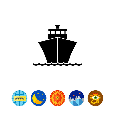 波に乗ってクルーズ客船のモノクロのベクトルのアイコン