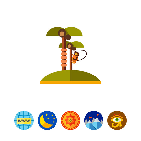 the topics: Two coconut palm trees and monkey climbing one of them. Wildlife, nature, island. Tropics concept. Can be used for topics like summer, vacation, travel. Illustration