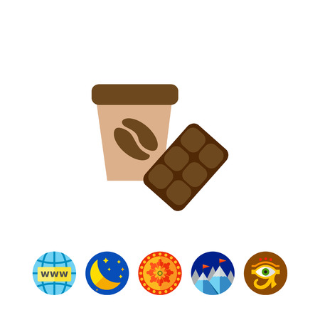 coffee beans: Icon of disposable coffee cup with whipped cream and coffee bean picture and chocolate bar Illustration