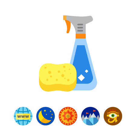 Detergent in Spray Bottle and Sponge Icon