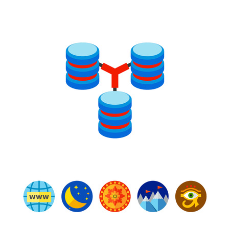 Database Concept with Disks Icon