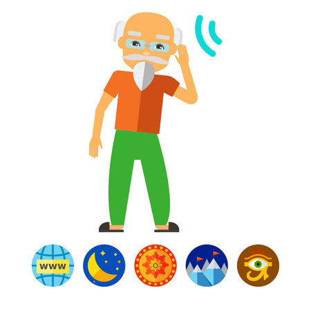 incapacitated: Deaf Old Man Trying to Hear Sound Icon