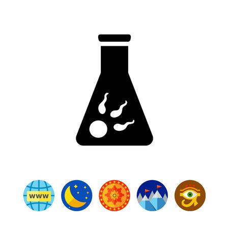 Icono de huevo con varios espermatozoides en frasco