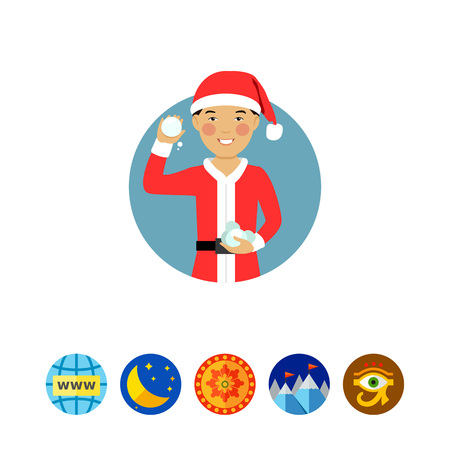 Male character, portrait of smiling Asian teenage boy wearing Santa costume, holding snowballs Illustration