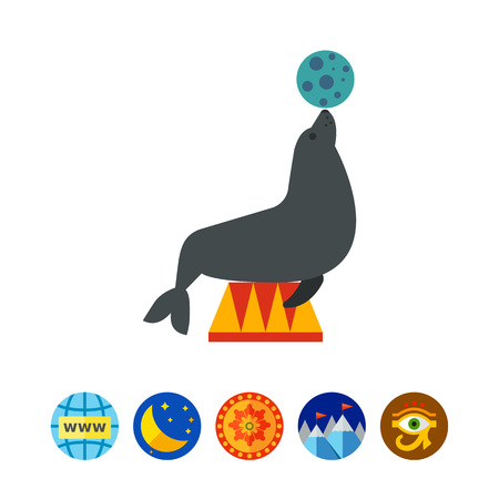 Icon of circus seal holding ball on its nose Illustration