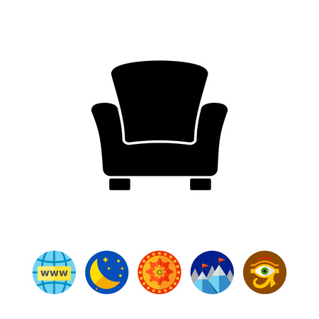 Monochrome vector icon of armchair with high back and armrests.