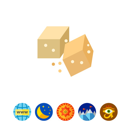 Multicolored vector icon of two brown sugar cubes Illustration
