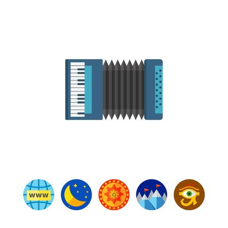Multicolored vector icon of blue classic accordion