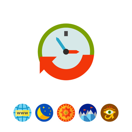 working hours: Clock with arrow. Hurry, event, date. Time concept. Can be used for topics like business, management, finance, planning.