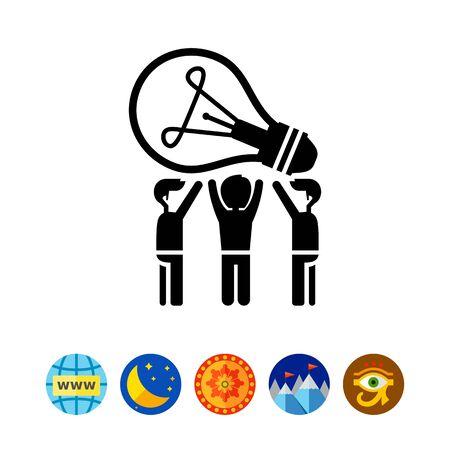 Common idea vector icon. Black and white illustration of people having common idea