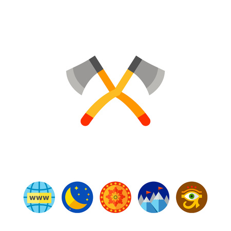 scouting: Illustration of big crossed axes. Lumberjack, wood, instrument. Camping concept. Can be used for topics like work, camping, tourism, scouting Illustration