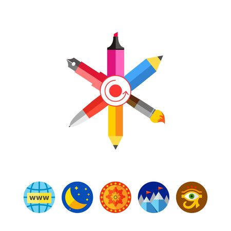 pen and marker: Icon of crossed ink pen, ball pen, pencil, paint brush, highlighter with dot and arrow circle in center Illustration