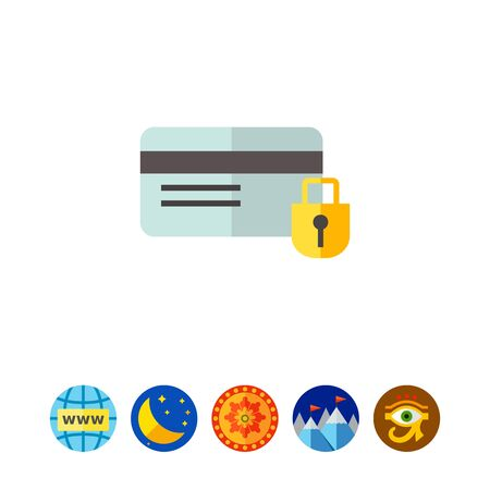 Multicolored vector icon of credit card and padlock