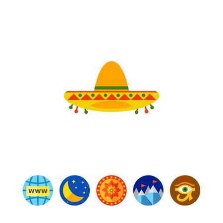 Colorful Sombrero Icon Illustration