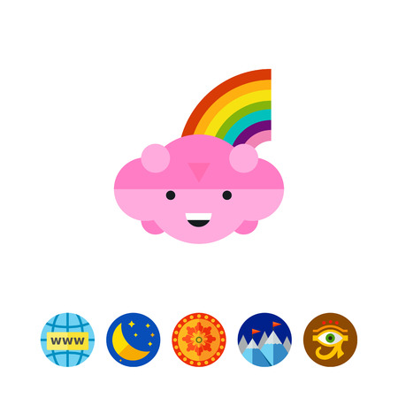Cloud with Rainbow Icon Illustration