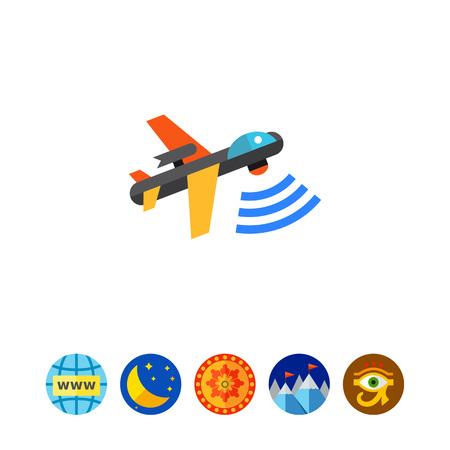 militant: Combat Aerial Military Drone Icon Illustration