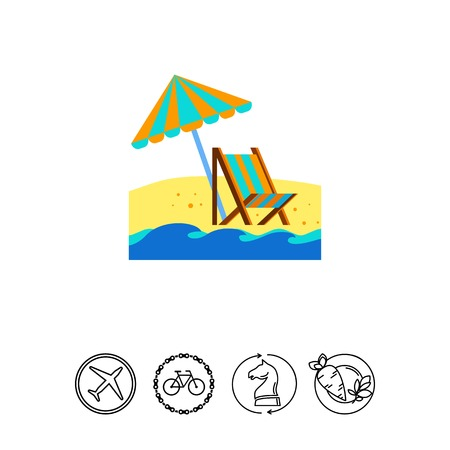 Ikone des Liegestuhls und des Regenschirmes auf dem Strand. Meer, Sommer, Reisen. Ferien-Konzept. Kann für Themen wie Reiseziel, Entspannung, Bräunen verwendet werden Standard-Bild - 79835905