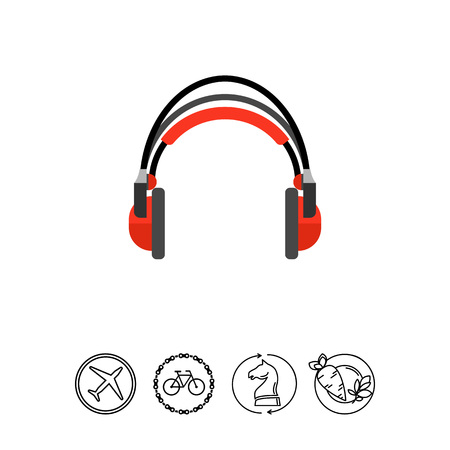 portable audio: Icon of red headphones. Audio, radio, podcast. Music concept. Can be used for topics like entertainment, accessory, production