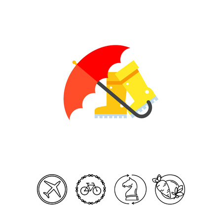 welly: Red umbrella and boots icon Illustration