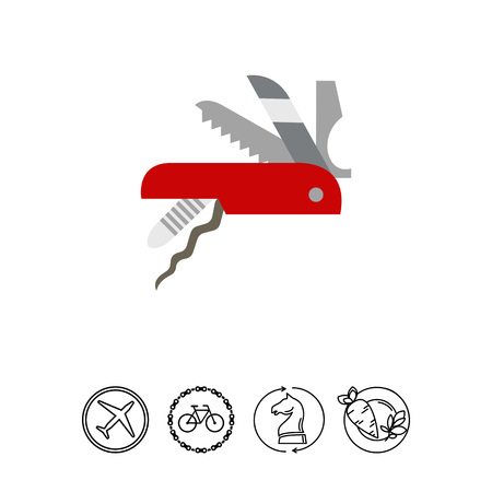 Vector icon of Swiss army knife. Multifunction knife, pocket knife, souvenir. Switzerland concept. Can be used for topics like travel, tourism, hiking equipment