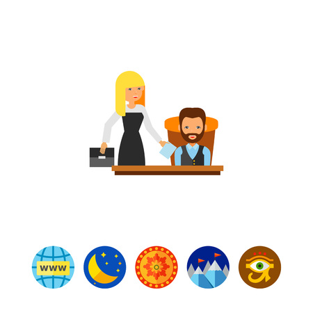 chief executive officer: Director with his assistant. Secretary, help, documents. Director concept. Can be used for topics like business, teamwork, management. Illustration