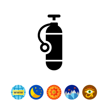 Icon of single scuba diving cylinder silhouette Illustration