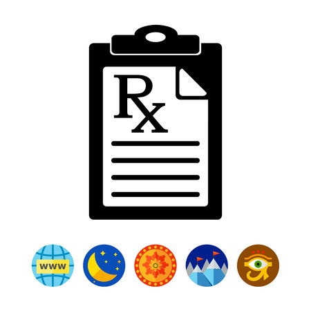 Document with Medical Prescription Icon