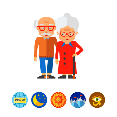 Elderly couple vector icon Illustration