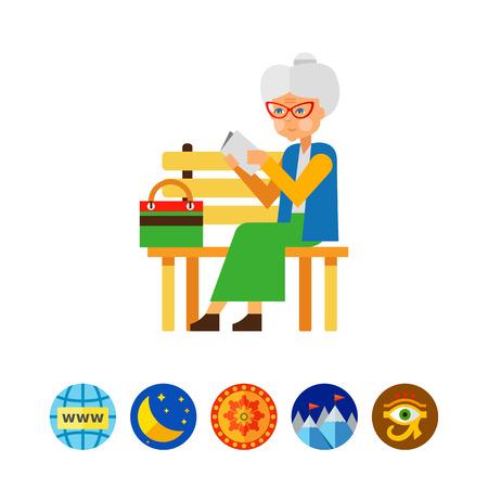 Elderly woman reading concept icon