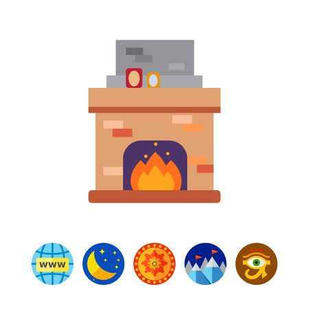 Fireplace with flame icon Illustration