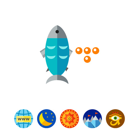 underwater fishes: Fish and Caviar Icon Illustration