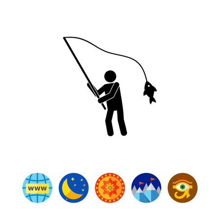 Fisherman with Fish on Rod Icon