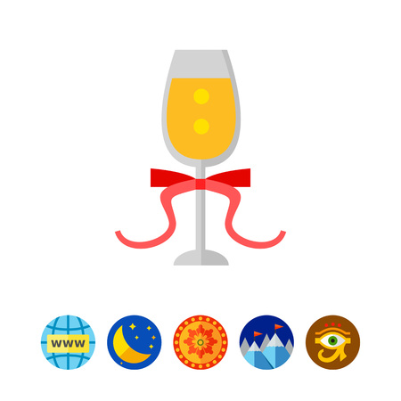 festivity: Glass of Champagne with Ribbon Icon