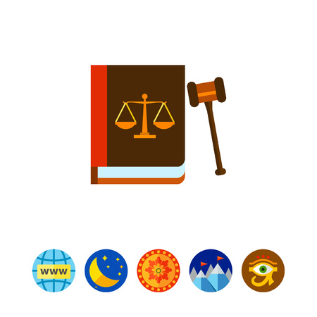 justice scale: Gavel and Book as Law Concept Icon