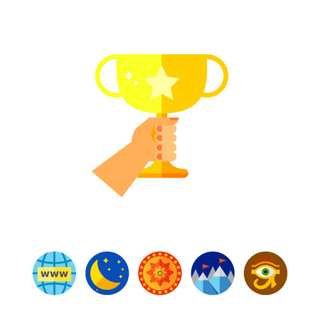 Human hand holding golden winner cup. Success, victory, prize. Winner concept. Can be used for topics like sport, health, sports competitions. Ilustrace