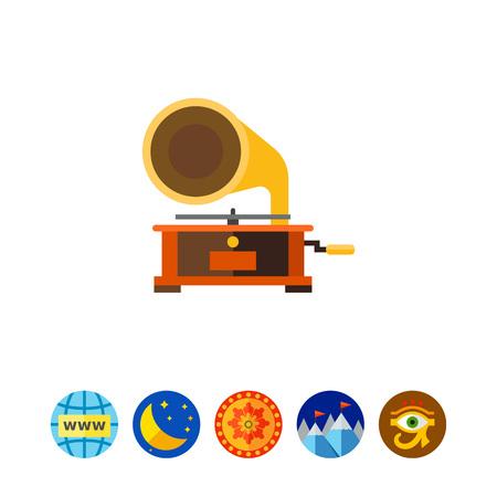 Gramophone Vector Icon, vector illustration.