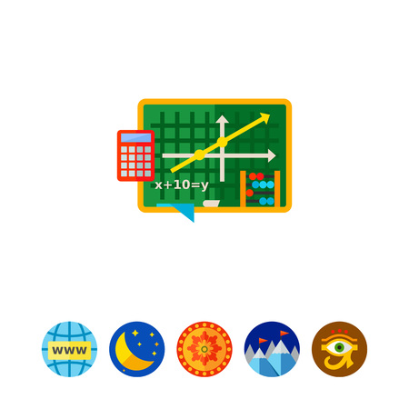 addition: Graph and Equation as Algebra Concept Icon, vector illustration.