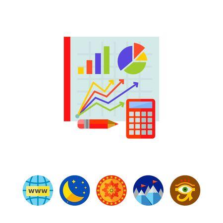 Graphs on board. Statistics, calculator, pencil, diagram. Statistics concept. Can be used for topics like statistics, analytics, finance, mathemetics Ilustrace