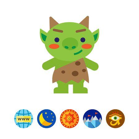 Funny green troll icon