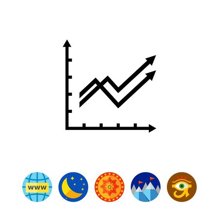 Growing line graphs icon