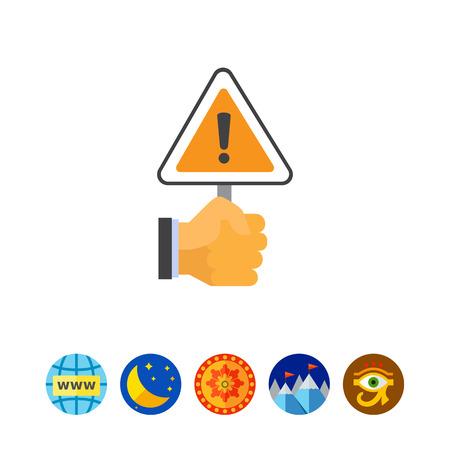 Hand holding warning sign