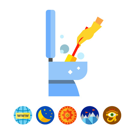 Hand in Glove Cleaning Toilet Icon Illustration