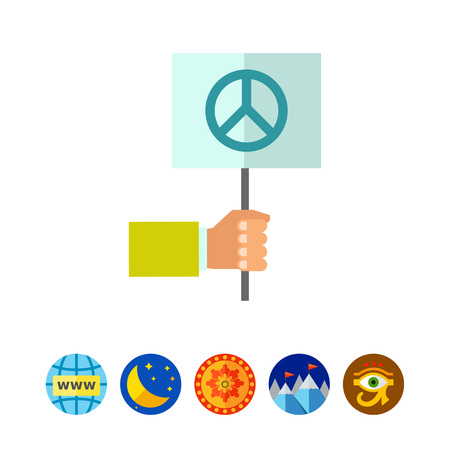 Hand holding pacifist sign Illustration