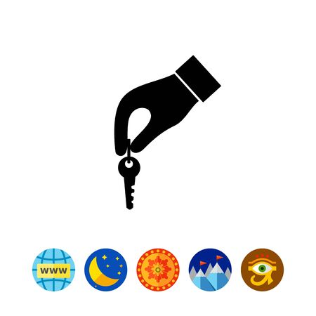 isolate: Hand with key simple icon Illustration