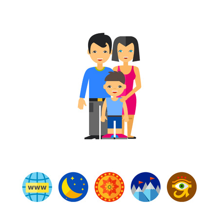 Happy Family Icon Illustration