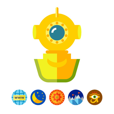 deep sea diver: Helmet diver icon Illustration