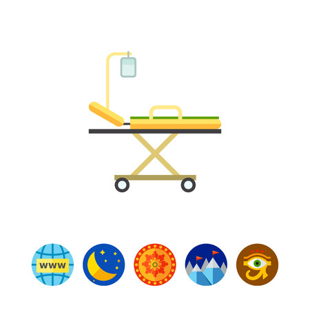 Multicolored vector icon of hospital stretcher bed with intravenous infusion drip Illustration