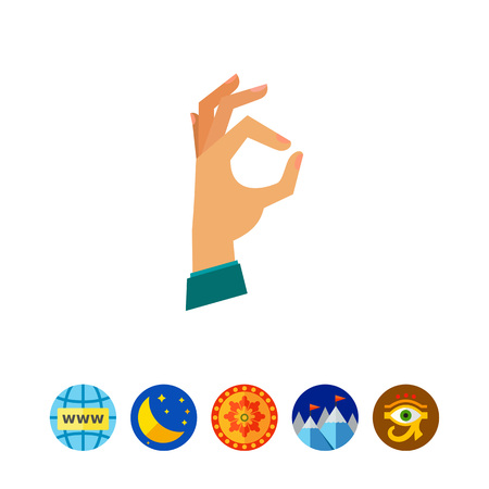 Multicolored vector icon of human hand showing gesture Ok